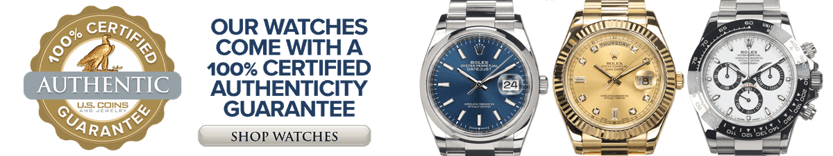 Our watches come with a 100% Authenticity Guarantee