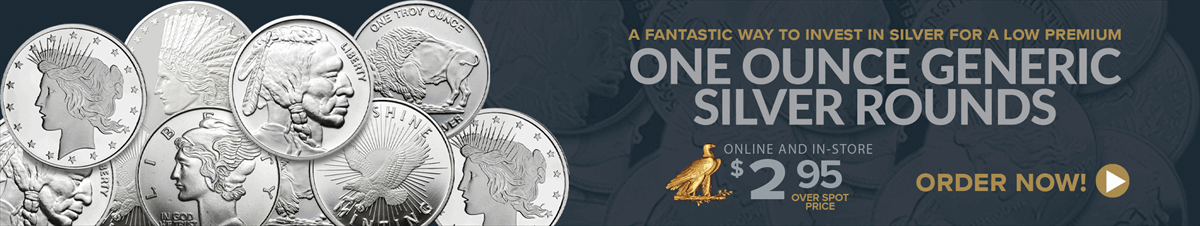Generic One Ounce Silver Rounds $2.95