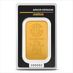 100 GRAM GOLD BAR ARGOR-HERAEUS