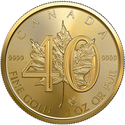 2019 1 OZ CANADIAN GOLD MAPLE LEAF 40TH ANNIVERSARY
