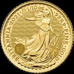 2021 1/10 OZ GREAT BRITAIN GOLD BRITANNIA