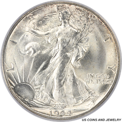 1944-S Walking Liberty Half Dollar PCGS MS65 Rolling Frosty Cartwheel Luster