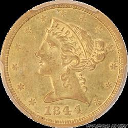 1844-O Liberty Head $5 Gold Half Eagle PCGS AU-55
