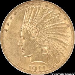1911-S Indian Head $10 Gold Eagle ANACS AU 50