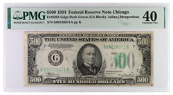 1934 $500 Federal Reserve Note, SN G00138071A PMG XF 40, Fr. 2201-G
