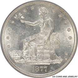 1877-S US Silver Trade Dollar PCGS MS61 - Very Nice Coin for the Grade