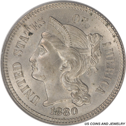 1880 Three Cent Nickel PCGS MS64 - White Coin and OGH