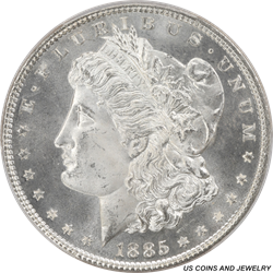1885 Morgan Silver Dollar PCGS MS66 Blinding White Luster PQ++