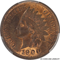 1900 Indian Cent PCGS MS63RB Nice original Red Brown