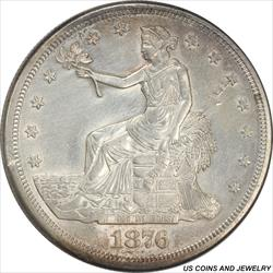 1876-S US Silver Trade Dollar With Chop Marks  Choice AU++