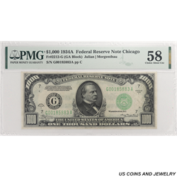 1934A $1000 Federal Reserve Note PMG  CH AU 58; Fr. 2212-G - Nice Circulated Note