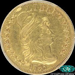 1795  Turban Head $5 Gold Half Eagle PCGS and CAC AU50 Small Eagle BD-8 Draped Bust