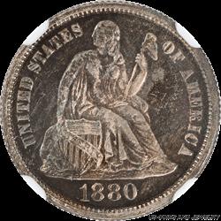 1880 Seated Liberty NGC PR 64