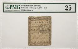 Continental Currency Fr#CC-21 PMG VF-25 February 17,1776