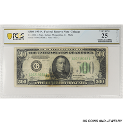 1934A $500 Federal Reserve Note Fr. 2202-G, Chicago, PCGS  25 Very Fine
