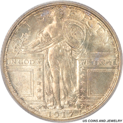 1917-S  Type 1 Standing Liberty Quarter PCGS MS64 Great Strike with Excellent Detail
