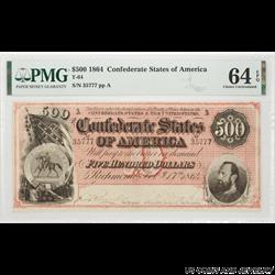 1864 $500 Confederate States of America T-64 SN# 35777 PMG CU 64 EPQ