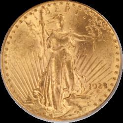 1928 Saint St. Gaudens $20 Gold Double Eagle OGH PCGS MS 61