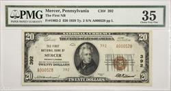 $20 1929 Ty.2 First NB Mercer, Pennsylvania  PMG CVF35 S/N A000528