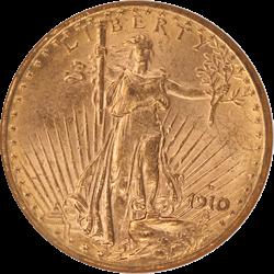 1910-D Saint St. Gaudens $20 Gold Double Eagle NGC MS 62