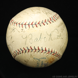 Babe Ruth and Lou Gehrig Autographed HOF Baseball PSA/DNA AI07773