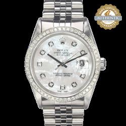 Rolex 36mm DATEJUST 16220 White MOP Dial & 1.08ct Diamond Bezel  Watch Only