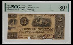 TXCRA2 $2 1839-41 Republic of Texas  S/N 3918 PMG