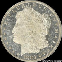 1883-O Morgan Silver Dollar PCGS MS63DMPL Frosty Deep Steel Mirror