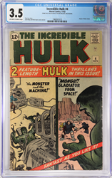 Nov 1962 The Incredible Hulk #4 CGC 3.5 Two Stories in one Issue
