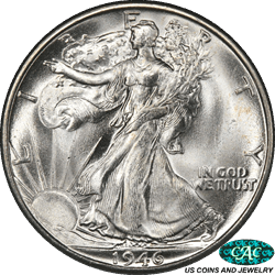 1946-S Walking Liberty Half Dollar PCGS and CAC MS66+ Frosty White PQ+ Coin