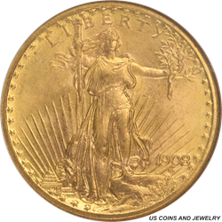 1908-P  No Motto St. Gaudens $20 NGC MS 68 - Wells Fargo Hoard Example