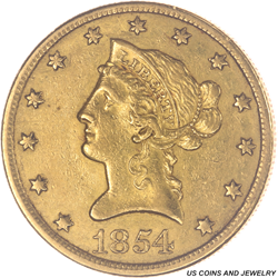 1854-O Small Date $10 Liberty Circulated, Extremely Fine - Nice Coin