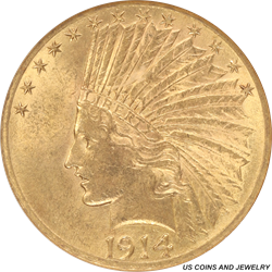 1914-D Indian Head $10 Gold Eagle Small White Holder ANACS MS 61
