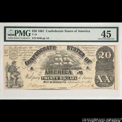 1861 $20 Confederate States of America Note PMG CEF 45 T-18 S/N 8640
