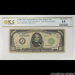 1934 $1000 Federal Reserve Note,  Fr. 2211-Jm, Kansas City, PCGS 15 Choice Fine