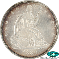 1889 Liberty Seated Half Dollar, Nice Peripheral Toning PCGS MS 63 CAC Approved