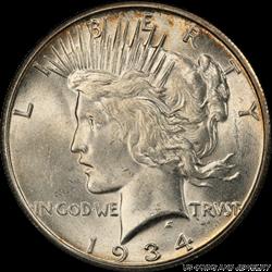1934-S Silver PEACE Dollar PCGS MS62
