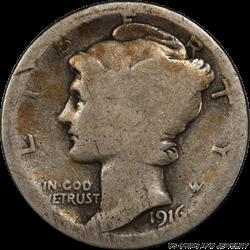 1916-D Mercury Dime, Nice Original Coin, PCGS Almost Good 3