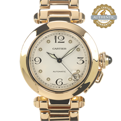 CARTIER 35mm Pasha 1035 18K YG With Box