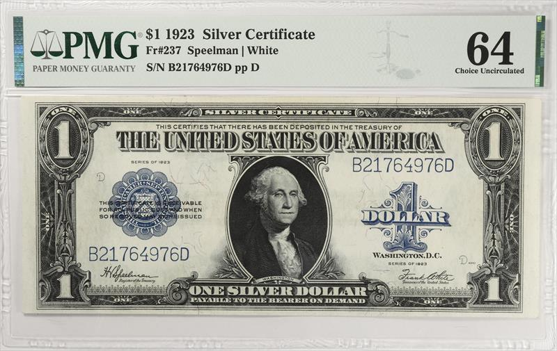 certificate 1923 currency pmg