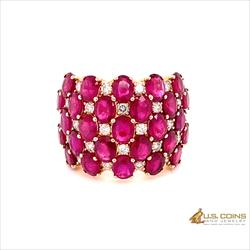 Natural Great Quality Red Ruby and Diamond Cocktail Ring, 14k Rose Gold GIA 6213543496