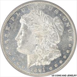 1891-CC Morgan Silver Dollar PCGS MS63DMPL  Choice Brilliant PQ+