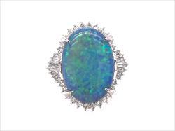 8.55ct Lightening Ridge Opal and Diamond Halo Accent Ring in Platinum