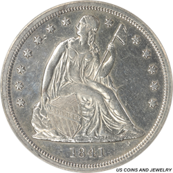 1841 Seated Liberty Dollar PCGS AU50 Details: Heavily Cleaned
