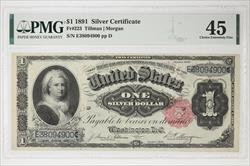 1891 $1 SILVER CERTIFICATE FR#223 SN E38094900 PMG CEF 45