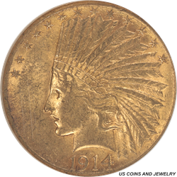 1914-S Indian Head $10 Gold Piece NGC AU 55 - Nice Coin