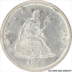 1875-S Seated Liberty Twenty Cent Piece PCGS AU58 Great Type Set Coin