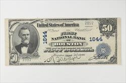 1902 Plain Back $50 First National Bank of Houston, Charter 1644 Raw, Circulated, VF