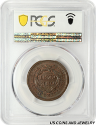 1855  Braided Hair Large Cent Upright 55 PCGS
