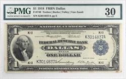 1918 $1 FRBN Dallas National Currency PMG VF30 FR#740 Teehee Burke